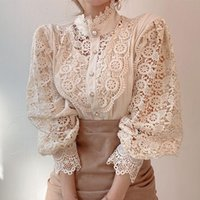 Women's T-Shirt Hollow Out Long Sleeve Shirt, High Collar, Oto? O. Sexy Lace Printed, White