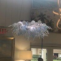 Ручная ручная стеклянная хрустальная люстра светодиодный арт подвесные светильники белые w120xh60cm крытое освещение современное украшение гостиной