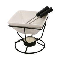 Set de fondue en porcelaine blanche en céramique de fonte de céramique sertie d'un brûleur de chauffe-feu de fer noir et d'outils WMTQXE 2ZDET DDA5944