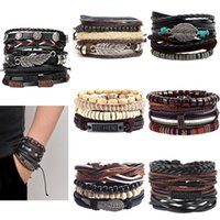 Charm Bracelets Vinatge Gothic Punk Skull Star Metal Multilayer Leather Bracelet Men & Bangles Male Arm Jewelry Wholesale