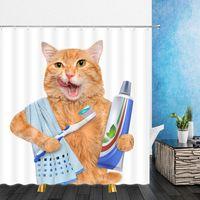 جميل القط الطباعة دش الستار مع هوك الحمام مضحك ديكور الإبداعية 3d طباعة القطط الحيوان للماء البوليستر غسل الستائر الحمام