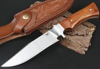 Outdoor Survival Straight Knife VG10 Drop Point Satin Blade Full Tang Rosewood Handle Fixed Blades Knives With Leather Sheath