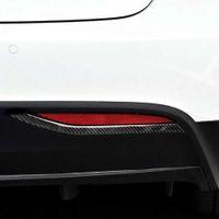 2 قطع ألياف الكربون ملصقا الضباب الخلفي ضوء تريم قطاع غطاء ملصقات ل tesla موديل X سيارة الديكور الداخلي اكسسوارات