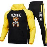 Primavera e outono Nova marca Casual Sportswear Mens Terno Hoodie + Calças Two-peça Impresso Pullover SportswearSoccer Jersey