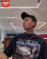 Heron Kısa Kollu Preston Vinç Sis Gevşek Erkekler Ve Kadınlar Casual Nakış T-Shirt Wu Yifantong # 0L3T