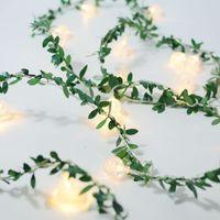 Decoraciones de Navidad Luces de cadena LED Hoja verde Rattan Bubble Bola Batería Batería USB Chica Corazón Interior y al aire libre Decorativo