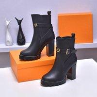 Tasarımcı Çizmeler Topuklu Lüks Tasarımcılar Kadın Patik Bayanlar Ayak Bileği Boot Moda Bayan Sonbahar Kış Yüksek Topuk Kısa Platformu Deri Kutusu Ile