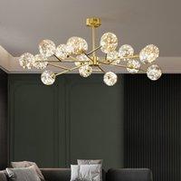 Nordic Unique Gypsophila Led Chandelier lamp Gold Black Metal Rod Pendant Lighting Clear Glass Globe Foyer Indoor