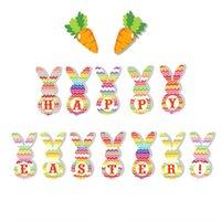 nouveau mignon dessin animé lapin tirer drapeaux drapeaus fête de Pâques jolies décorations bannières festival fête décoration décoration ornements ewe7484