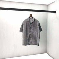 21ss Мужчины Печатные футболки Дизайнер Париж Жаккардовый Кнопка Письмо Гавайи Одежда с коротким рукавом Мужская Рубашка Тег Черный Белый
