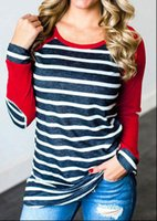 Striped Elbow Patch Womens T Shirts Long Sleeve Femme Plus Size Tee Korean Casual Basic Clothes Autumn Winter