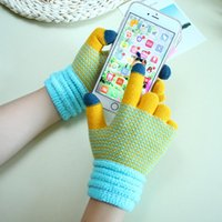 Five Fingers Gloves Autumn Winter Unisex Warm Men Women Knitted Soft Patchwork Color Mittens Outdoor Couple Touch Screen Glove