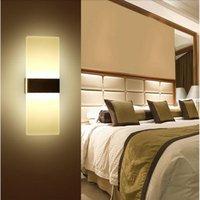 벽 램프 현대 간단한 LED 장착 아크릴 침실 사각형 타원형 거실 거실 로비 학습 라이트 홈 장식