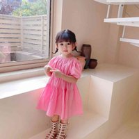 Dresses Baby Summer 2021 Cute Baby Girls Crooked Sleeve Short Children Cotton Casual Es Pink Princess