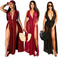 Chiffon Langes Kleid Casual Long Maxi Abendparty Cocktail Strand Kleid Strand Strickjacke Badeanzug Cover Ups Sexy Frauen Frauen Sommer Boho