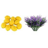 Decorative Flowers & Wreaths 12 Pcs Artificial Lemons Fruit Model Fake With 10 Bundles Flowers-Lavender