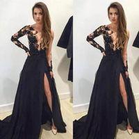 2021 Sexy Long Black Prom Dresses Appliques Deep V-neck Long Sleeves Side Split Evening Party Gowns Custom Made vestisdos de novia