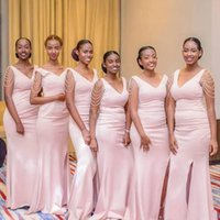 Bridesmaid Dress Pink Pearl Mermiad Dresses Long V Neck Wedding Guest Gown Black Girls Prom Evening Party Gowns
