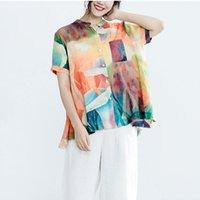 Frauen Blusen Hemden Fje Frauen Bluse Plus Größe Weibliche Kleidung Vintage Print Casual Basic Tops 2021 Sommer Kurzarm Blusas Feminin