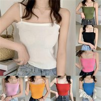 Women's Tanks & Camis Sexy Knitted Slash Neck Solid Color Ladies Thin Shoulder Strap Top 8 Colors Women Beauty Back Camisole