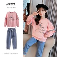 Toddler Girl Outfits Spring Cartoon Sweatshirts and Jeans Trousers Children Girls Clothing Set 2 Piece Denim Tracksuits 4 8 12Y