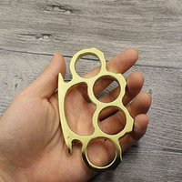 Brass Finger Tiger Clasp Four Ring Defense Fight Knuckle Copper Edc Outdoor Diy Self and Wolf Appliance LG6E728