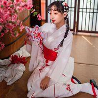 Women Elegant Red White Sakura Print Kimono Japanese Style Yukata Anime Cosplay Robes Girls Party Dress Mask Vintage Vestidos Ethnic Clothin
