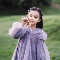 Sweet girls purple velvet pearls splicing lace tulle dress children gauze puff sleeve princess dresses autumn kids birthday party clothes Q2858