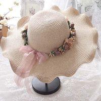 Yaz Çiçek Hasır Şapka Anne Ve Kızı Ebeveyn-Çocuk Güneş Kremi Cömert Plaj Kadın Gelgit Parti Güneş Toptan Geniş Ağız Şapkalar