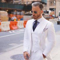 Wide Peaked Lapel Men Suits for Wedding Tuxedos 2022 White Groom Best Man Blazer jacket 3 Pieces Smart Casual Business Tuxedos