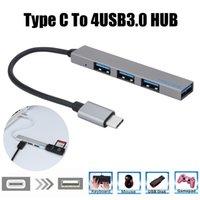 USB Hub 3.0 High Quality Type-C To 4 USB C Hub Expander Ultra-Thin Mini Portable 4-Port USB Type C Hub Silver