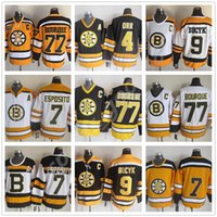 Vintage Boston Bruins Jersey 7 Phil Esposito 77 Ray Bourque 9 Johnny Bucyk Siyah Beyaz Sarı CCM Retro Hokey Formaları Boyutu 48-56