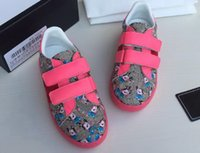 جودة عالية أطفال مصمم أحذية طباعة جلد أحذية رياضية للبنين بنات لطيفة الطفل طفل الشقق