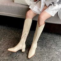 ZawsThia Genuine Natural Leather Chunky High Heels Woman's Winter Autumn Shoes Cool Cowgirls Pointed Toe Women Riding Boots 210611
