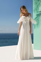 Beach Wedding Dresses 2022 Spaghetti Straps Lace Backless Bride Gowns with Flutter Sleeves A Line Formal Robe De Marrige