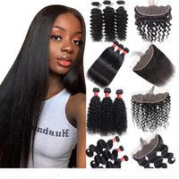Unprocessed Brazilian Body Wave Human Hair Bundles with Closure Straight Raw Indian Virgin Hair Bundles with Frontal Kinky Deep Extensions