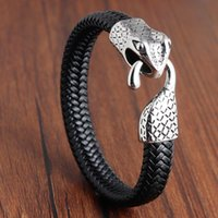 Bracelets de charme bracelet en cuir bracelet en acier inoxydable tressé tête de serpent bijoux hommes
