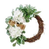 الزهور الزهور أكاليل أكلاند زهرة شنقا الروطان الحرير اكليلا باب الديكور الأخضر الحور جولة الفصح القماش الاصطناعي الأبيض هيت