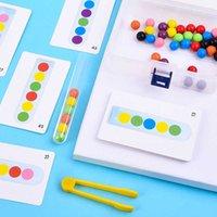 Montessori Aprendizaje Juguetes Clip Beads Prueba Tubo Toy Niños Lógica Concentración Fina Motor Entrenamiento Educación Early Toy para Baby 210607