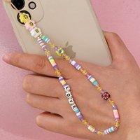 El yapımı takı toptan kişilik moda renk yumuşak çömlek cep telefonu kordon aşk mektubu boncuklu gözler cep telefonu zincir kadın kolye
