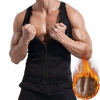 Men's Body Shapers NIBESSER Shaper Sweat Shirt Casual Zipper Bodybuilding Sleeveless Mens Slimming Vest Fashion Solid Fitness Bodysuit Top