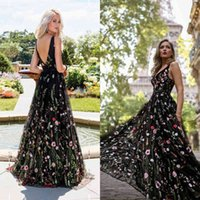 Sexy Women's New Deep v Embroidered Dress Sleeveless Backless Swing Dance Long Skirt