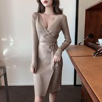 Casual Dresses Elegant Sheath Dress Women's Sexy Long Sleeve V-Neck Irregular Lace Up Knitted Bottom Wrapped Ladies For Women