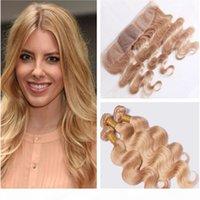 버진 인도 꿀 금발 인간의 머리카락 묶음 실크 정면 바디 웨이브 # 27 밝은 갈색 실크베이스 레이스 정면 클로저 3Bundles