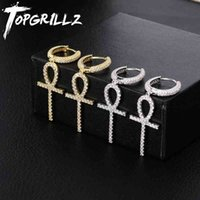 TOPGRILLZ Iced Zircon Ankh Cross Earring Gold Silver Color Micro Paved AAA Bling CZ Stone Earrings For Man Women Hip Hop Jewelry