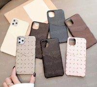 Casos de teléfono de diseño de cuero para iPhone 12 Pro Max Mini 11 XS XR X 8 7 PLUS TITULARIO DE TARJETA DE MODA POLBANTE POLSCHA DE POLBANO DE PUBLICACIÓN DE LUJO Caja de protección de cáscara móvil de lujo