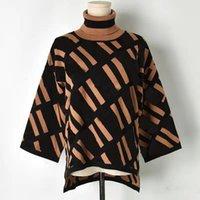 2021 가을 겨울 니트 여성 스웨터 패션 디자이너 풀 오버 자카드 문자 V 넥 긴 소매 섹시한 봄 여성 가을 의류 스웨터