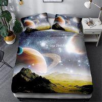 Bedding Sets Beautiful Space Planet Series Pattern Three Piece Set, Duvet, Quilt, Pillowcase, Teen Bedroom Decoration Home Textile