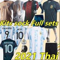 2021 Argentina Maradona Messi Futebol Jerseys Barca Argentino 200º ano Kun Agüero di Maria Lo Celso Martinez Correa Homens + Kids Kits Sock Full sets uniformes de futebol