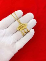 Minimal Vietnamese sand gold abacus ornaments necklace lady ethnic wind copper plated 24K-gold pendant [Store Opening]